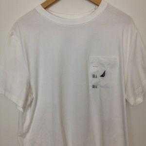 Nautica Performance Men L White Cotton T-Shirt
